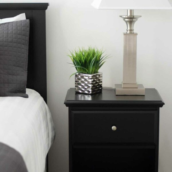 Congaree Package bedroom nightstand with plant